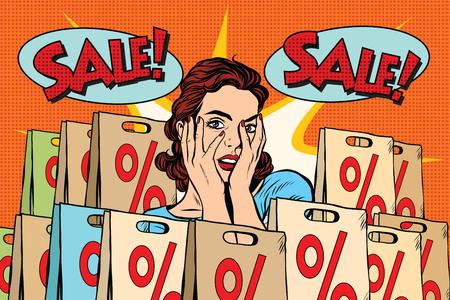woman art: Pop art surprised woman sales discounts, the buyer. retro vector, realistic hand drawn illustration.