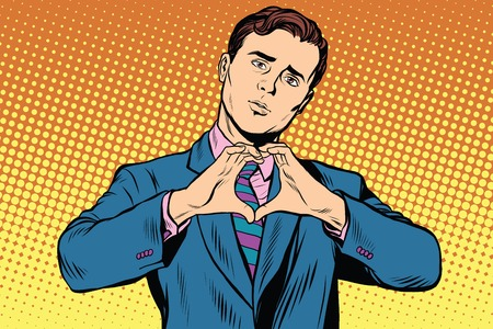 I love you gesture heart man. Pop art retro vector, realistic hand drawn illustration. Banco de Imagens - 60723093