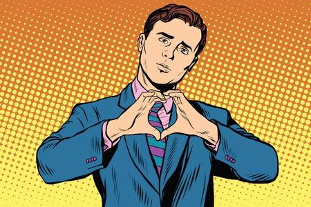 I love you gesture heart man. Pop art retro vector, realistic hand drawn illustration.