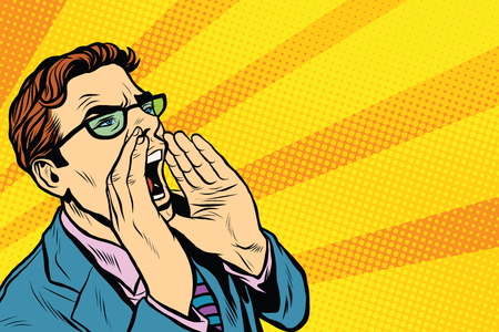 Pop-Art-Geschäftsmann schreien. Pop-Art Retro-Vektor, realistisch Hand gezeichnete Illustration. Promo Menschen