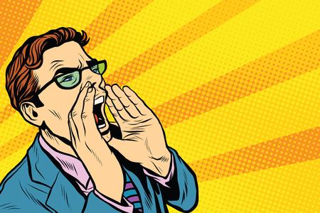 berros: Pop hombre de negocios gritando arte. Pop retro del arte del vector, realista ejemplo dibujado mano. Promo personas