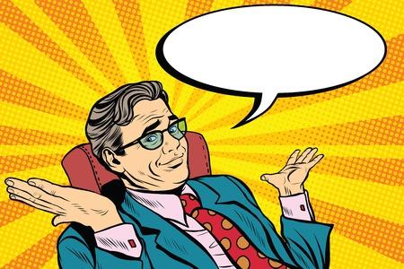 おっと申し訳ありませんがビジネスの男性。ポップアート レトロなベクトル、現実的な手描きの図。実業家は、彼の手をスローします。
