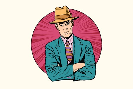 aristocrat: Retro male gentleman in the hat. Pop art retro vector, realistic hand drawn illustration. Stock Photo