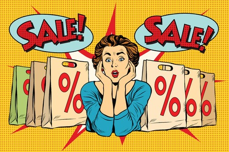 exited: Pop art surprised woman sales discounts, the buyer. retro vector, realistic hand drawn illustration.