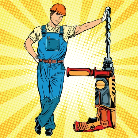 drill bit: Beautiful professional Builder with electric drill pop art retro vector, realistic hand drawn illustration. Construction and repair