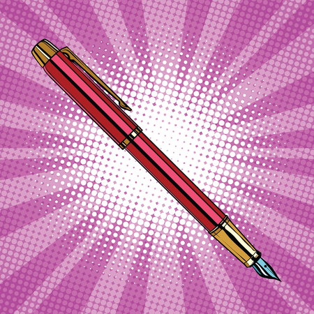 art pen: Expensive ink pen business accessory pop art retro vector, realistic hand drawn illustration.