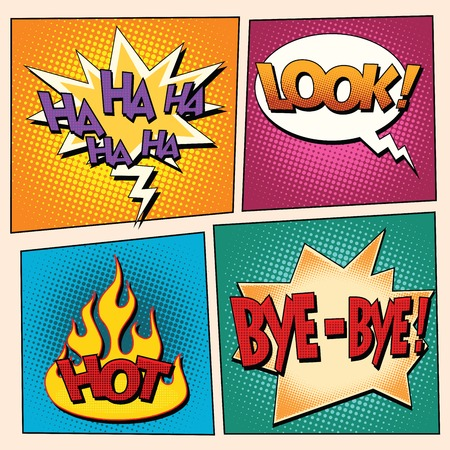 bye: set comic pop art bubbles with text. retro vector illustration. Ha ha look hot bye