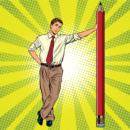 Retro engineer with a pencil pop art retro vector, realistic hand drawn illustration. Professionals at work