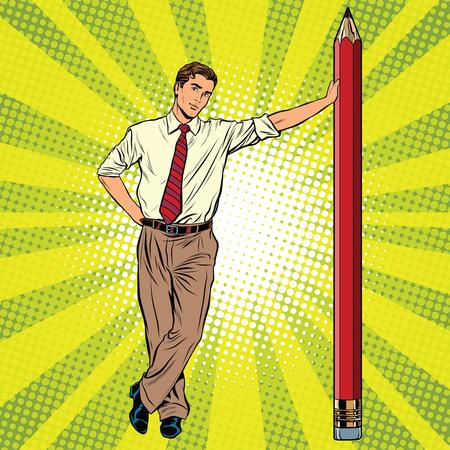grafit: Retro inżynier z ołówkiem pop sztuki retro wektora, realistyczne wyciągnąć rękę ilustracji. Profesjonaliści w pracy