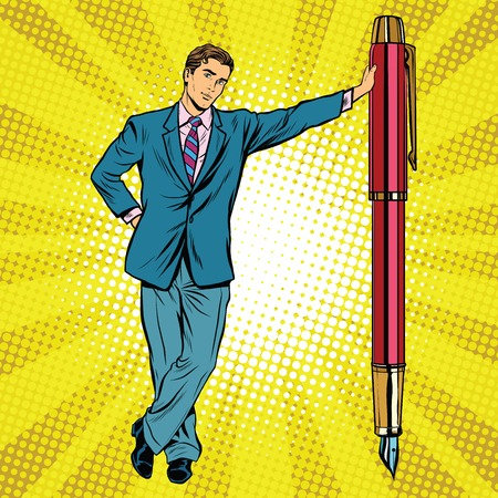 art pen: Businessman with fountain pen pop art retro vector, realistic hand drawn illustration.