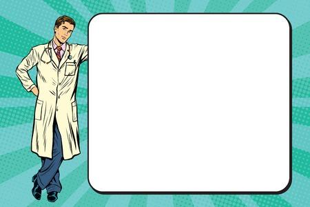 job promotion: Doctor of medicine next to a poster pop art retro vector, realistic hand drawn illustration. Illustration