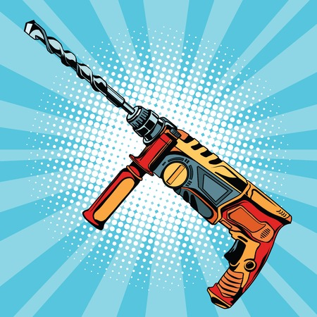 Electric hammer drill is a professional tool for building and repair pop art retro vector, realistic hand drawn illustration. also known as a rotary hammer, roto-drill or hammering drill Illustration