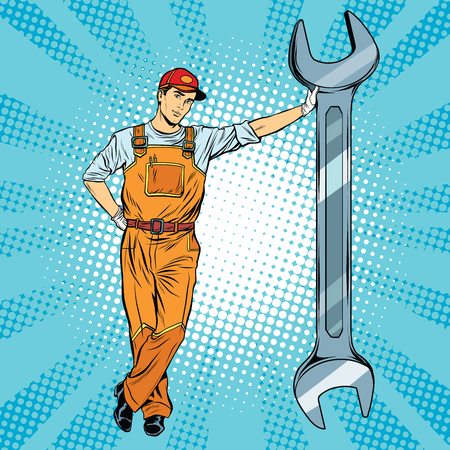 Mechanic with a wrench pop art retro vector, realistic hand drawn illustration. Repair of motor vehicles, motorcycles and mechanisms Vettoriali