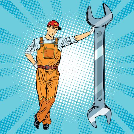 Mechaniker mit einem Schraubenschlüssel Pop-Art Retro-Vektor, realistisch Hand gezeichnete Illustration. Reparatur von Kraftfahrzeugen, Motorrädern und Mechanismen