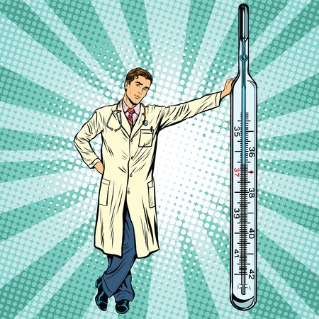 36 6: Retro medical doctor with thermometer pop art vector, realistic hand drawn illustration. Medicine and health. Professional at work Illustration