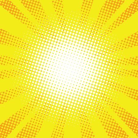 黄色光線ポップアート レトロ コミック背景ベクトル イラスト。