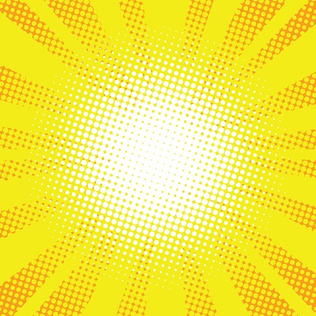 comic background: Yellow rays pop art retro comic background vector illustration.
