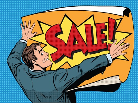 Retro man unfolds a poster sale pop art vector, realistic hand drawn illustration. Illustration