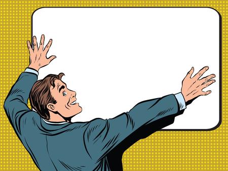 Retro man unfolds a poster pop art vector, realistic hand drawn illustration. Stock Photo