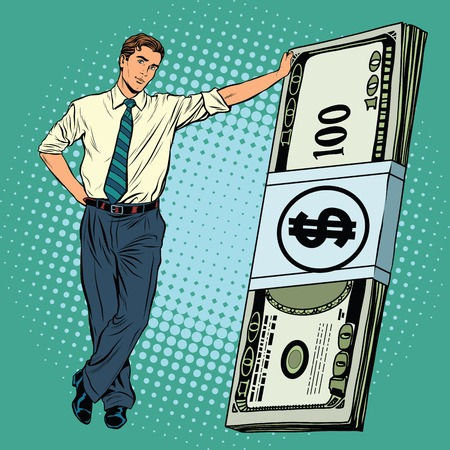 Business man with money pop art retro vector. Financial success