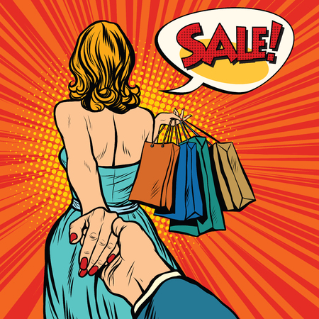 Follow me, young woman leads a man on a shopping. pop art retro vector. Discounts and sales Vettoriali