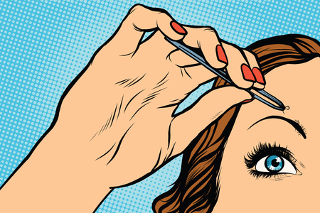 tweezers: woman plucking eyebrows depilating with tweezers pop art retro vector. Makeup and beauty