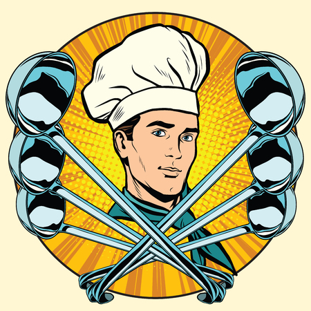 fine dining: Cook and ladles stylized pop art retro icon vector. Food and cooking