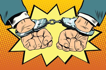 Arrestation, pop art rétro vecteur mains menottées. Crime de la police criminelle Vecteurs