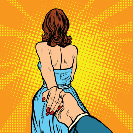 follow me, woman leads man by the hand pop art retro vector Illustration