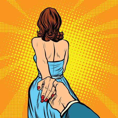 Volg me, vrouw leidt man door de hand pop art retro vector