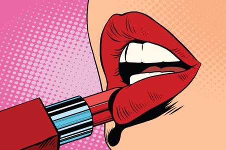 Fille peint ses lèvres avec le rouge à lèvres rouge, maquillage pop art rétro vecteur. La beauté du visage