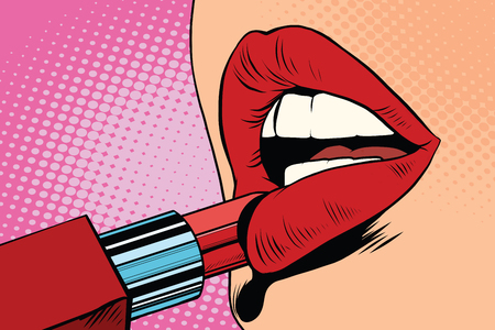 Girl paints her lips with red lipstick, makeup pop art retro vector. The beauty of the face