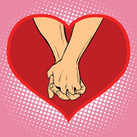 closeness: Male and female hand together in a red heart symbol of love pop art retro vector.