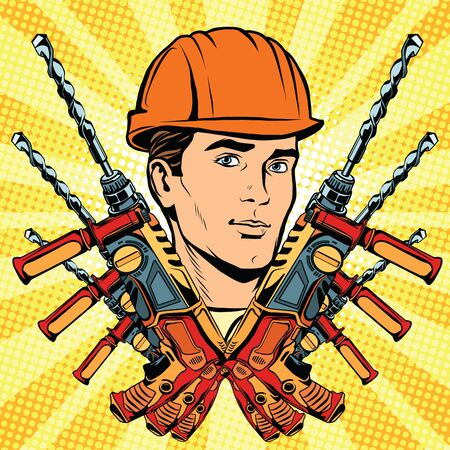 specialization: Male Builder work and electric drill, pop art retro vector. Profession and specialization