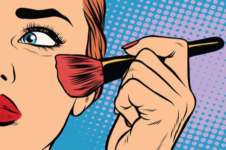 Maquillaje, mujer cepillo hace que el tono de la cara, el arte pop retro de vector. La belleza de la cara Ilustración de vector