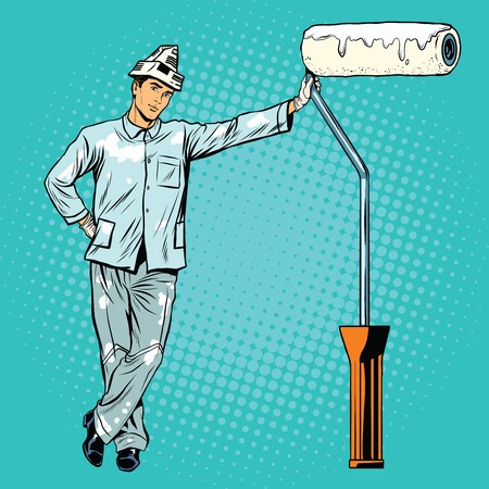 specialization: house painter with paint rollers pop art retro vector. Profession and specialization. Home repair
