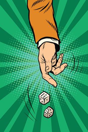 double the chances: Throw the dice, game randomness lottery pop art retro vector. Casino