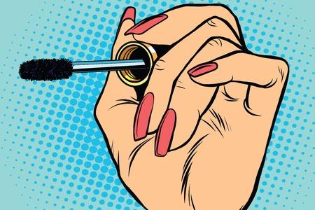 makeup brush: close up Black mascara eyeliner eyelash pop art retro vector. Beauty, cosmetics and eye care
