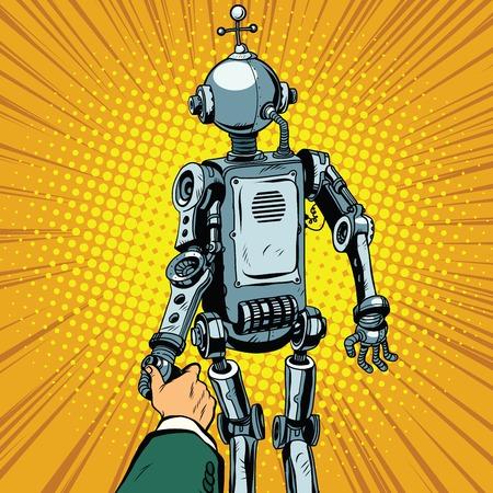 civilization: Follow me, the robot leads us forward pop art retro vector. Artificial intelligence civilization, technological revolution. Autopilot Illustration