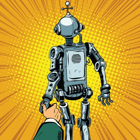 Follow me, the robot leads us forward pop art retro vector. Artificial intelligence civilization, technological revolution. Autopilot Illustration
