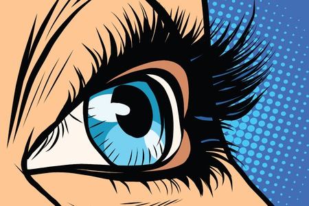 Close-up des yeux féminins pop art rétro vecteur. femme de beauté