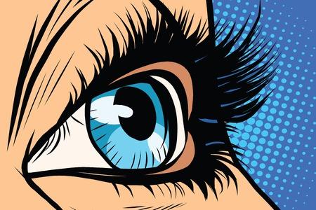 Close-up van vrouwelijke ogen pop art retro vector. vrouw van de schoonheid