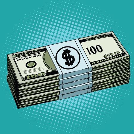 Money dollars cash pop art retro vector. Banknotes Finance Illustration