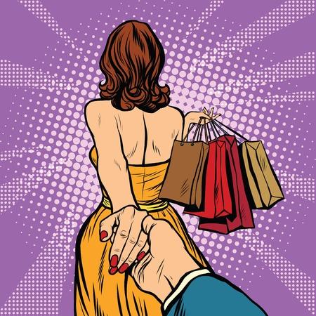 Folgen Sie mir, führt junge Frau, die einen Mann auf einem Shopping. Pop-Art Retro-Vektor. Rabatte und Vertrieb