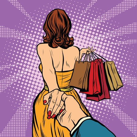 Follow me, young woman leads a man on a shopping. pop art retro vector. Discounts and sales Çizim