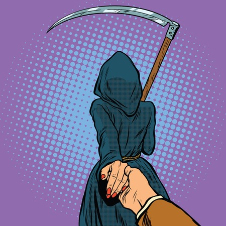 Follow me, the Grim Reaper leads pop art retro vector. Death and mythology
