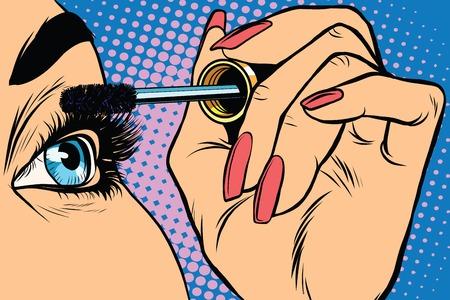 dark complexion: Makeup. Eyeliner. Make-up Applying closeup. Cosmetic Eyeshadows. Eyeline brush  pop art retro vector Illustration