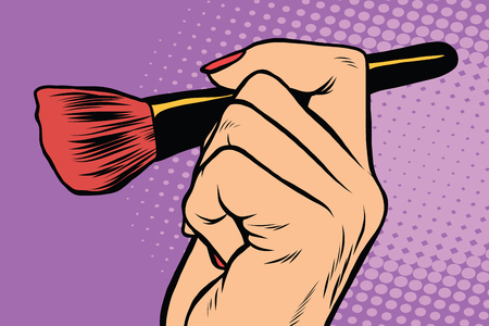 eyeshadow: Make-up brush in hand pop art retro vector. Beauty, cosmetics and skin care face