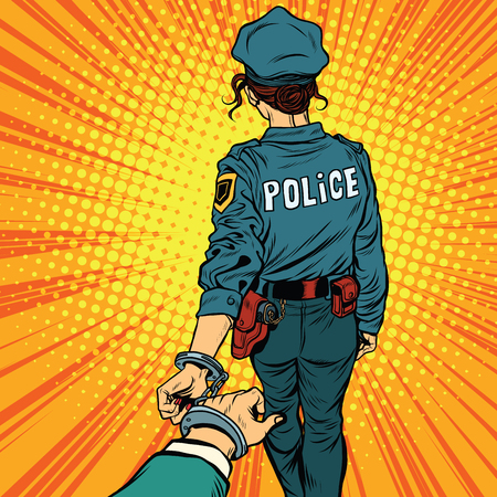 felony: Follow me, a woman police officer is arrested by the hand. pop art retro vector. Law and order