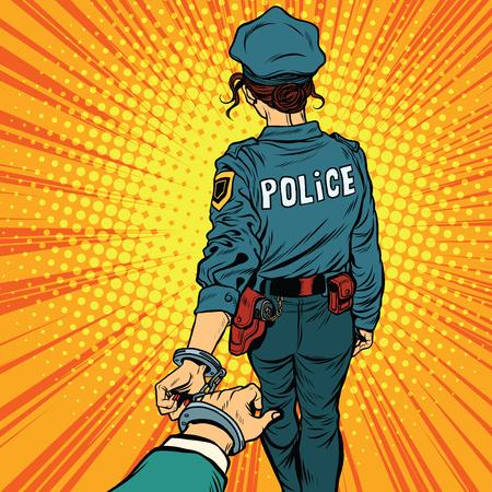 Suivez-moi, une femme officier de police est arrêté par la main. pop art rétro vecteur. La loi et l'ordre Vecteurs